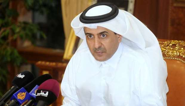 HE the Attorney General Dr Ali bin Fetais al-Marri addressing the media yesterday in Doha.