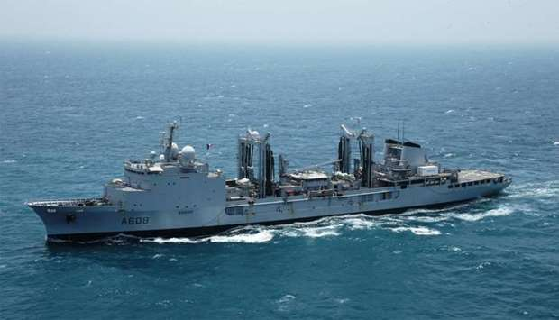 Warships belonging to French Naval Forces holding exercises in Qatari territorial waters.