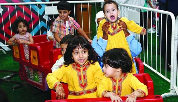 Kids try out the electric choo-choo train. PICTURES: Jayaram