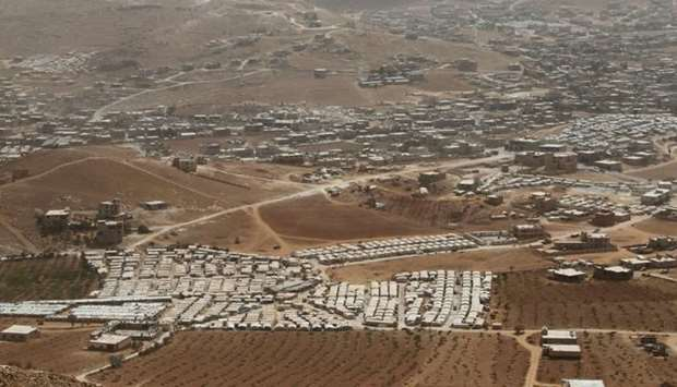 A general view shows Syrian refugee camps