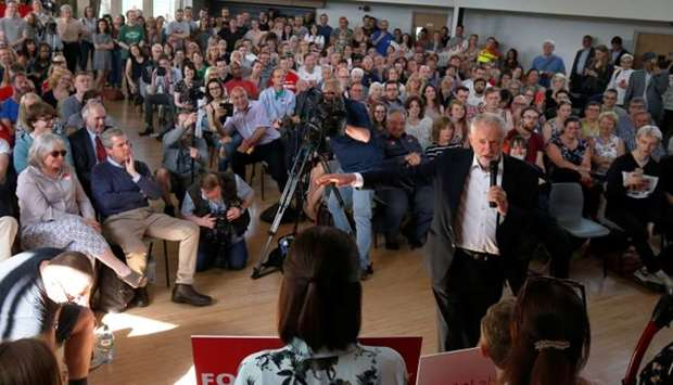 Leader of Britain's opposition Labour Party Corbyn campaigns in Manchester
