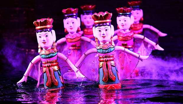 Water puppets performing at the Thang Long theatre in Hanoi