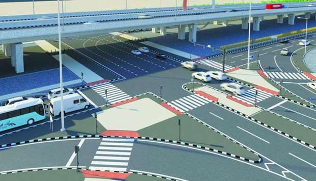 An illustration of an intersection in the proposed East Industrial Street expansion