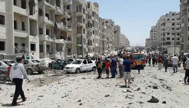 After a car bomb exploded in al-Thelatheen Street located in Idlib city