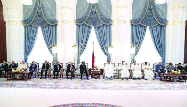 His Highness the Amir Sheikh Tamim bin Hamad al-Thani receives well-wishers on the occasion of Eid a