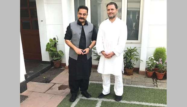 Makkal Needhi Maiam chief Kamal Haasan meets Congress president Rahul Gandhi in New Delhi yesterday.