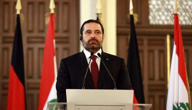 Lebanese Prime Minister Saad Hariri gives a press conference with the German Chancellor at his offic
