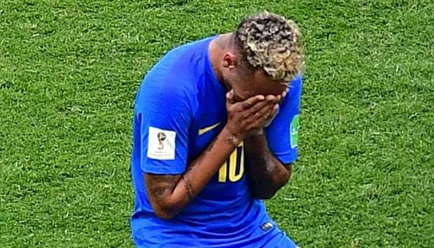 Neymar cries at the end of the Group E match between Brazil and Costa Rica.