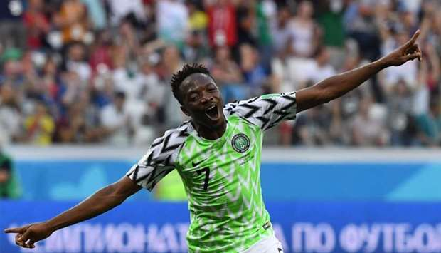 Nigeria's forward Ahmed Musa celebrates after scoring their second goal