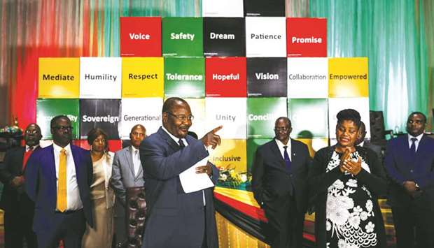 ZANU PF representative Obert Mpofu speaks during the national peace pledge signing hosted by the Nat