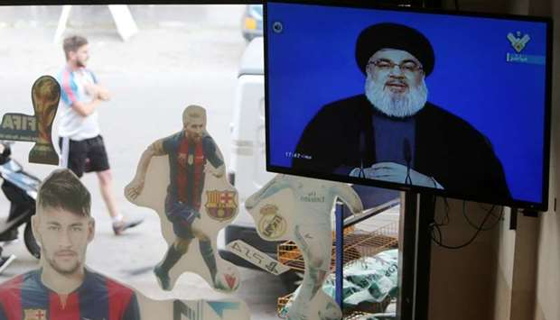 Lebanon's Hezbollah leader Sayyed Hassan Nasrallah is seen speaking on television in al-Ghaziyeh vil