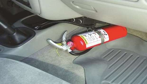 fire extinguisher in vehicle