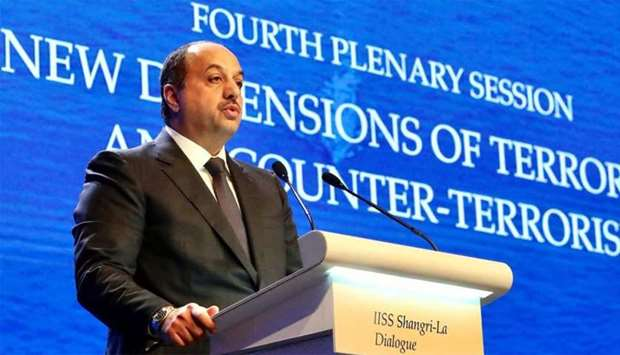 HE Dr Khalid al-Attiyah speaking at a session of the Shangri-La Security Conference in Singapore.