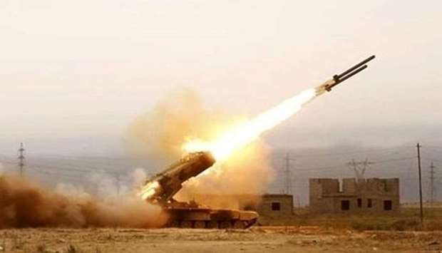 A Houthi missile being fired from Yemen