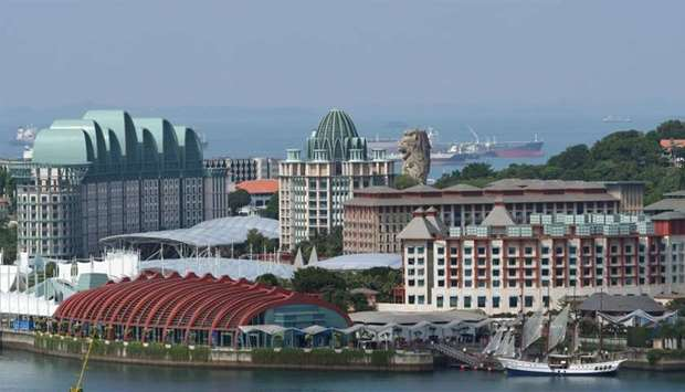 The view of Resorts World Sentosa island in Singapore