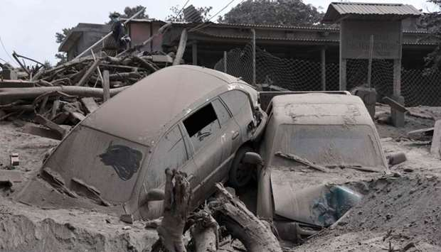 View of the damage casued by the eruption of the Fuego Volcano in village of San Miguel Los Lotes