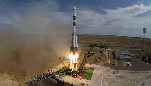 The Soyuz MS-09 spacecraft blasts off