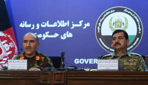 Afghan Army Chief of Staff, General Sharif Yaftali (L) and Deputy Minister, General Akhtar Mohammad