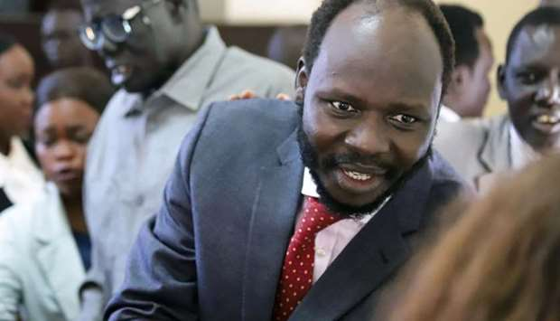 Peter Biar Ajak is seen inside the courtroom in Juba, South Sudan
