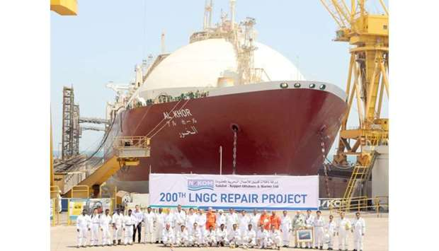 Liquefied natural gas vessel 'Al Khor' at Erhama bin Jaber Al Jalahma Shipyard.