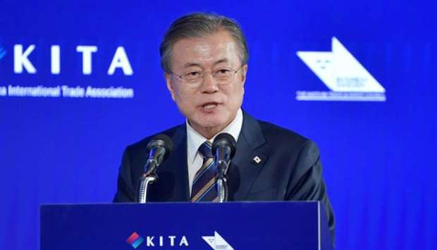 South Korea's President Moon Jae-in gives a speech at the Sweden-Korea Business Summit in Stockholm,
