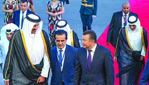 His Highness the Amir Sheikh Tamim bin Hamad al-Thani being received by Tajikistan Prime Minister Ko