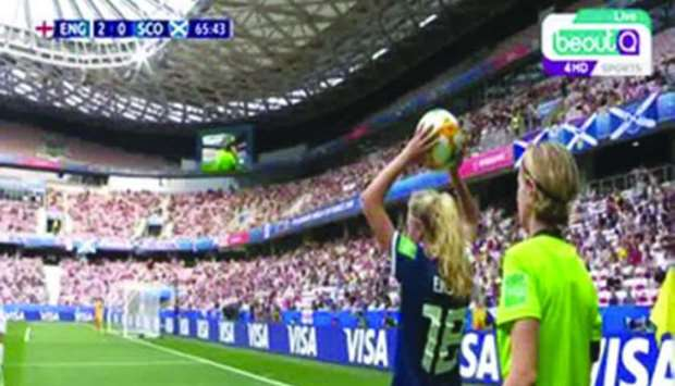A grab of the pirated broadcast of the England vs Scotland match at the Women's World Cup.
