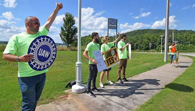 Pro-union workers demonstrate outside Volkswagen's Chattanooga plant in Tennessee