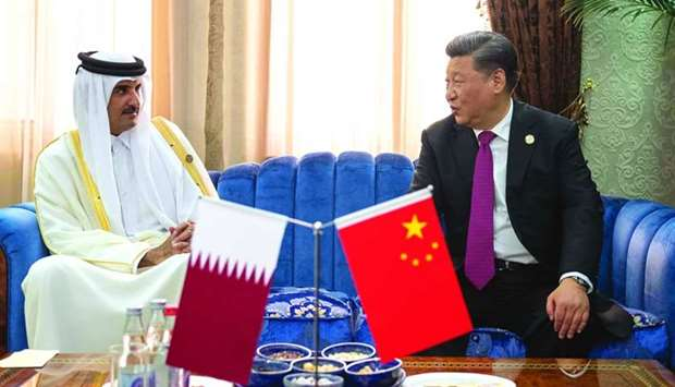 His Highness the Amir Sheikh Tamim bin Hamad al-Thani meets with Chinese President Xi Jinping