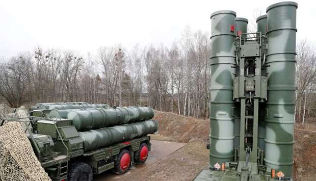 A view shows S-400 surface-to-air missile system after its deployment near Kaliningrad