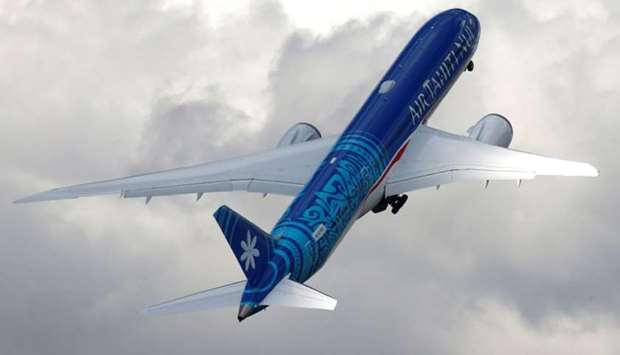 A Boeing 787-9 Dreamliner of Air Tahiti Nui company performs during the 53rd International Paris Air