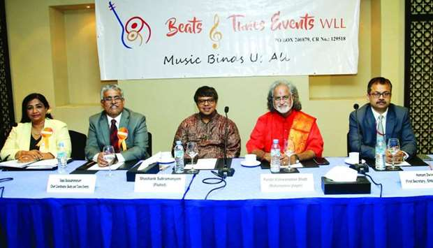 Musicians Pandit Vishwa Mohan Bhatt and Shashank Subramanyam along with first secretary at Indian em