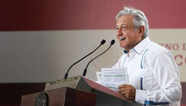 Mexico's President Andres Manuel Lopez Obrador deliver a speech to supporters in Merida, Yucatan, Me
