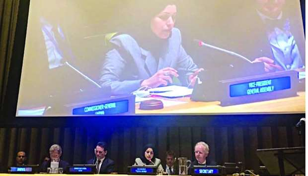 HE the Permanent Representative of Qatar to the UN Ambassador, Sheikha Alya Ahmed bin Saif al-Thani,