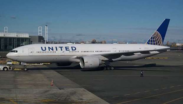 A United Airlines flight aircraft at Newark Airport