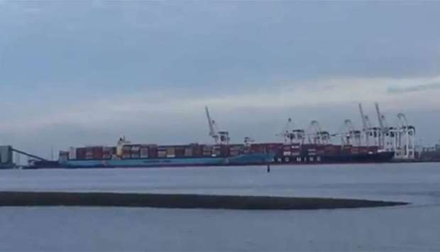 cargo ship with the Canadian garbage docked back at Deltaport near Vancouver
