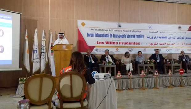 The Director of Al Shamal Municipality, Hamad Jumaa al-Mannai, giving a presentation at the forum.