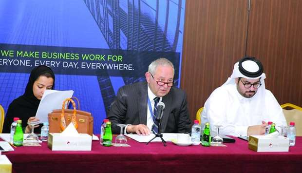 ICC Qatar Banking Commission vice chairman Ghassan Azar and other members of the banking committee d
