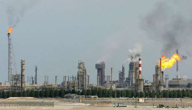 An oil refinery on the outskirts of Doha