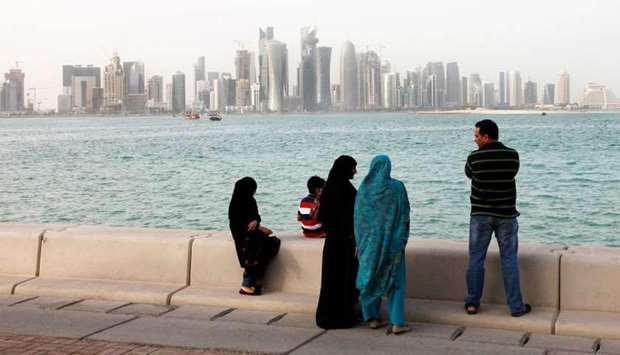 A view of Doha skyline from the corniche.