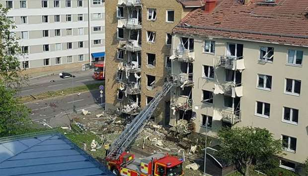 Rescue personnel are seen at the site of an explosion in Linkoping