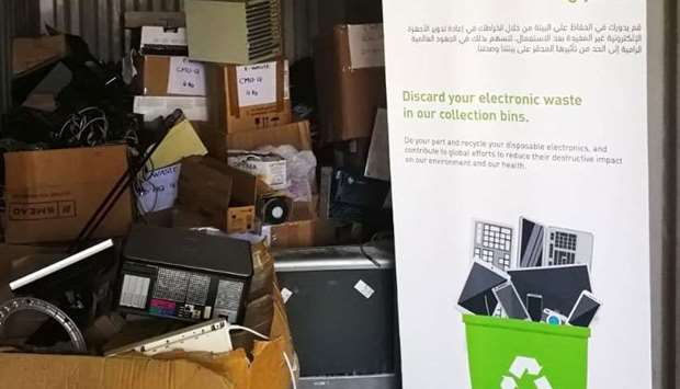 Some of the e-waste collected through the drive