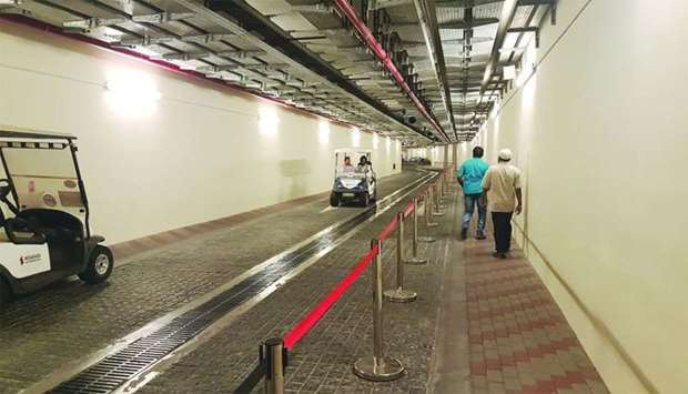 Doha Metro passengers can either walk or take a free ride service from the Al Qassar station. PICTUR