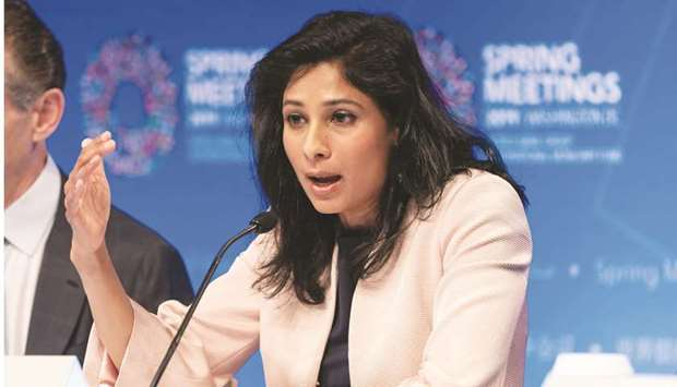 Gita Gopinath, chief economist with the International Monetary Fund, speaks at a World Economic Outl