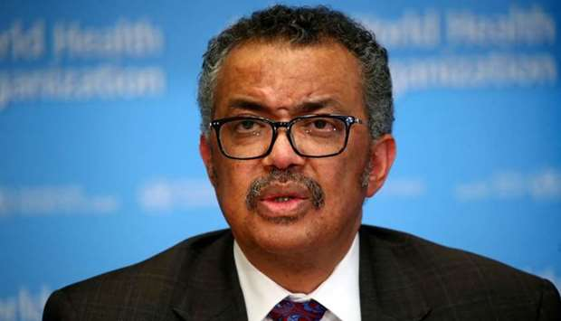 Director General of the World Health Organization (WHO) Tedros Adhanom Ghebreyesus speaks during a n