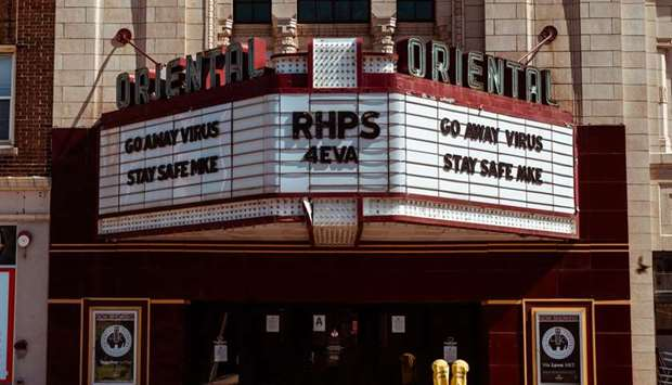 """SHUTTERED: Milwaukee's Oriental Theatre says """"Go Away Virus. Stay Safe MKE"""". They are among many the"""