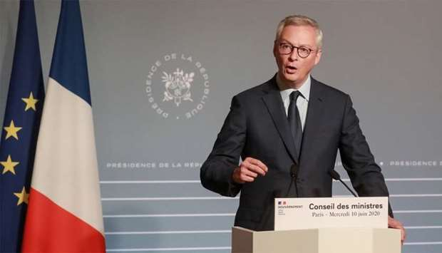 French economy and Finance Minister Bruno Le Maire addressing a press conference on June 10 in Paris