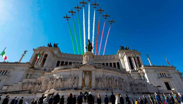 Italian Air Force acrobatic unit perform as part of Republic Day ceremonies