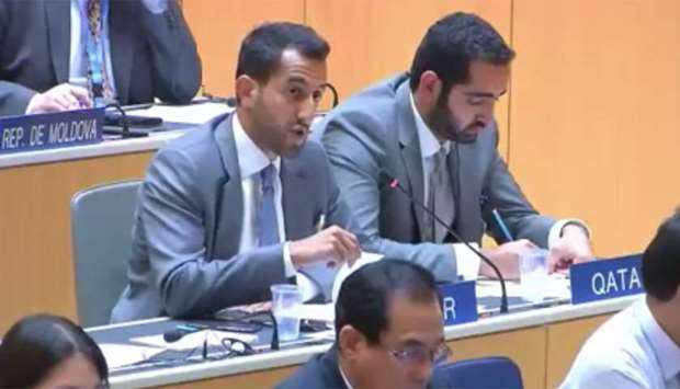 Saleh Abdullah Al Mana making an intervention in one of the WTO meetings