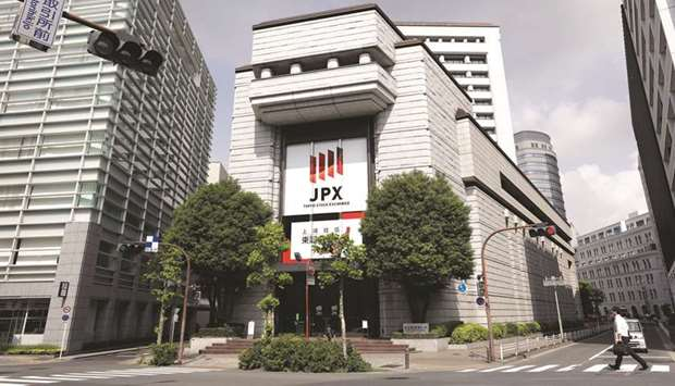 An external view of the Tokyo Stock Exchange building. The Nikkei 225 closed up 1.1% to 22,512.08 po